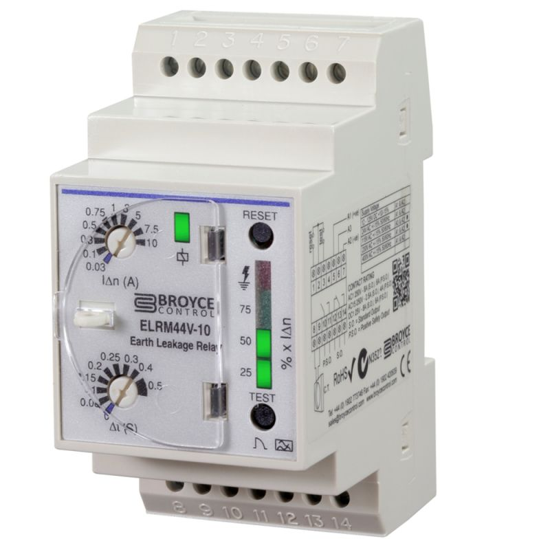 Earth Leakage Relay (variable)  Type A, DIN rail housing